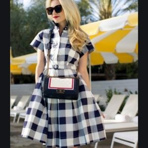 Eliza J Blue & White Checkered Gingham Dress NWOT